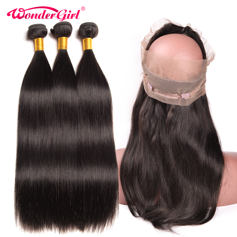 Pre Plucked 360 Lace Frontal With Bundle 3PCS Brazilian Straight Human Hair Bundles with Closure No
