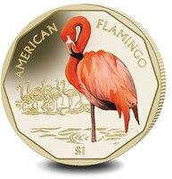 Caribbean flamingo British Virgin Islands 2019 1 yuan color commemorative coinUNC original Coin Not circulated Plastic package