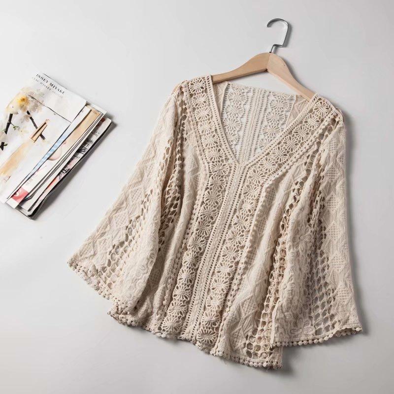 Lace Sweaters Womens 2019 Autumn Bohemian Style V Neck Hollow Out Tops Female Crocheted Geometric Knitted Sweater Crop Pullovers