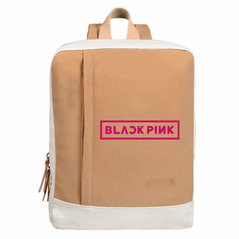 Kpop Blackpink ローズリサ Jennie バックパックスクールバッグ黒ピンク旅行バッグラップトップチェーンバックパック韓国語版かわいいトリコロール