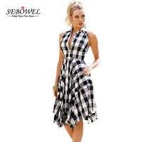 SEBOWEL Plaid Dresses Fashion Casual Summer Office Ladies Blue Black White Gray Checks Flared Shirt Dress