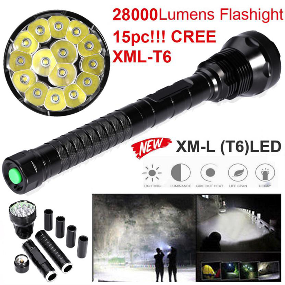 MUQGEW   5 Modes Torch 26650/18650 Camping Lamp Light 2017 Newest Bright Illumination Outdoor 28000LM 15x XML T6 LED Flashlight high quality 28000lm 15x xml t6 led flashlight 5 modes torch 26650 18650 camping lamp light