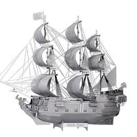 3D Metal Model Puzzle Jigsaws Ship Model DIY Gift Black Pearl Pirate Ship 3D Laser Cut