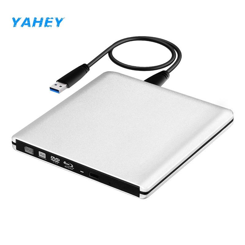 External Blu-Ray Drive Slim USB 3.0 Bluray Burner BD-RE CD/DVD RW Writer Play 3D 4K Blu-ray Disc for Laptop Notebook Netbook