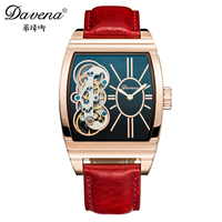 2016 Best Beautiful Women Automatic Hollow Out Watch Fashion Casual Antique Genuine Leather High Quality Davena
