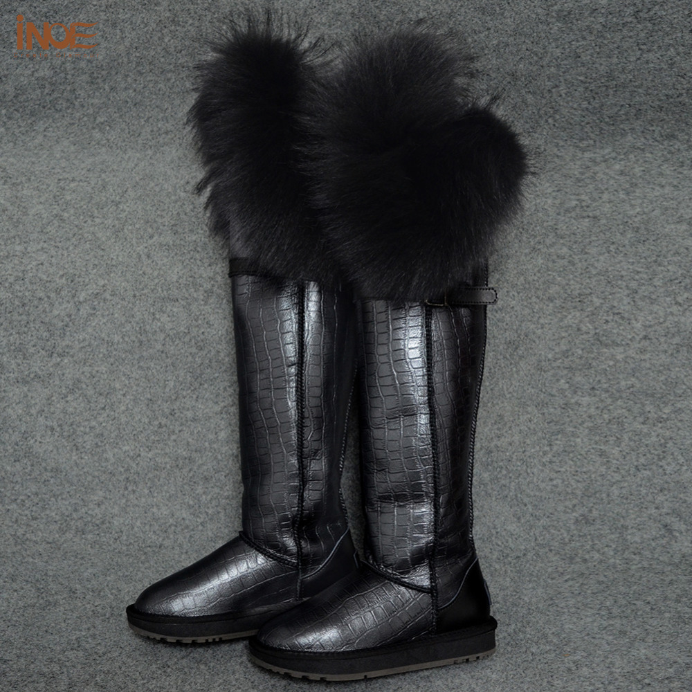 new fashion thigh real Cow leather fox fur over the knee long winter snow boots for women winter shoes waterproof