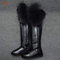 new fashion thigh real sheepskin leather fox fur over the knee long winter snow boots for women winter shoes waterproof