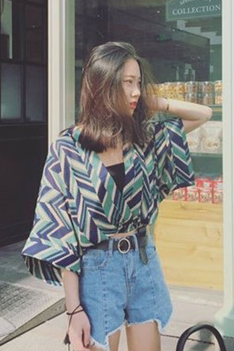 2017 Summer chic retro loose striped short Chiffon cardigan ...