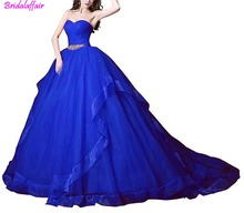 2019 Formal Dress Long Sweetheart Lace-up Tulle Prom Dress Court Evening Dresses Ball Gown with Rhinestones Belt Prom Gown цена 2017