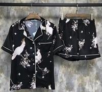 RenYvtil 2018 Nova Moda de Cetim de Seda Pijamas das Mulheres Primavera Verão Sleepwear Calções Conjunto Roupas Roupa de Dormir Em Casa Da Árvore Dos Pássaros DS