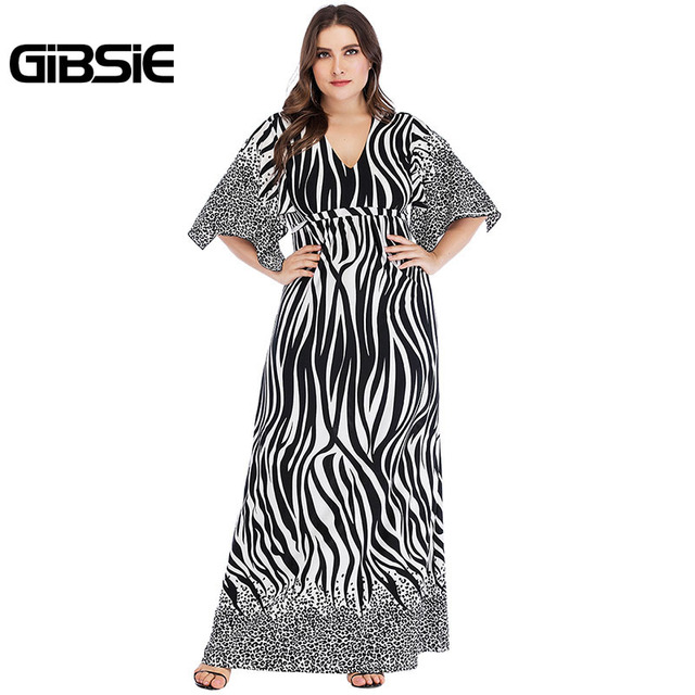 GIBSIE Zebra Print Summer Women Long Maxi Dresses 2019 Elegant Plus Size V Neck Tie Waist Casual Party Fit and Flare Dress