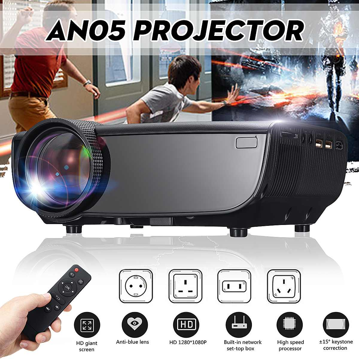 LEORY Smart Portable Mini LED 3D TV Projector Support Full HD 1080p Video Home Theater Beamer Proyector