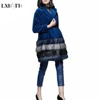 LXMSTH 2018 Подиум костюм комплект женский модный искусственный мех комплект в женский s 2 шт. брюки наборы Женский Длинный Меховой ремень пальто