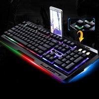 De Metal Teclado Para Jogos Com Fio 3 LED Backlight para LOL Jogos para Computador PC Periféricos Teclado Óptico Pro Gamer Dota Klavye