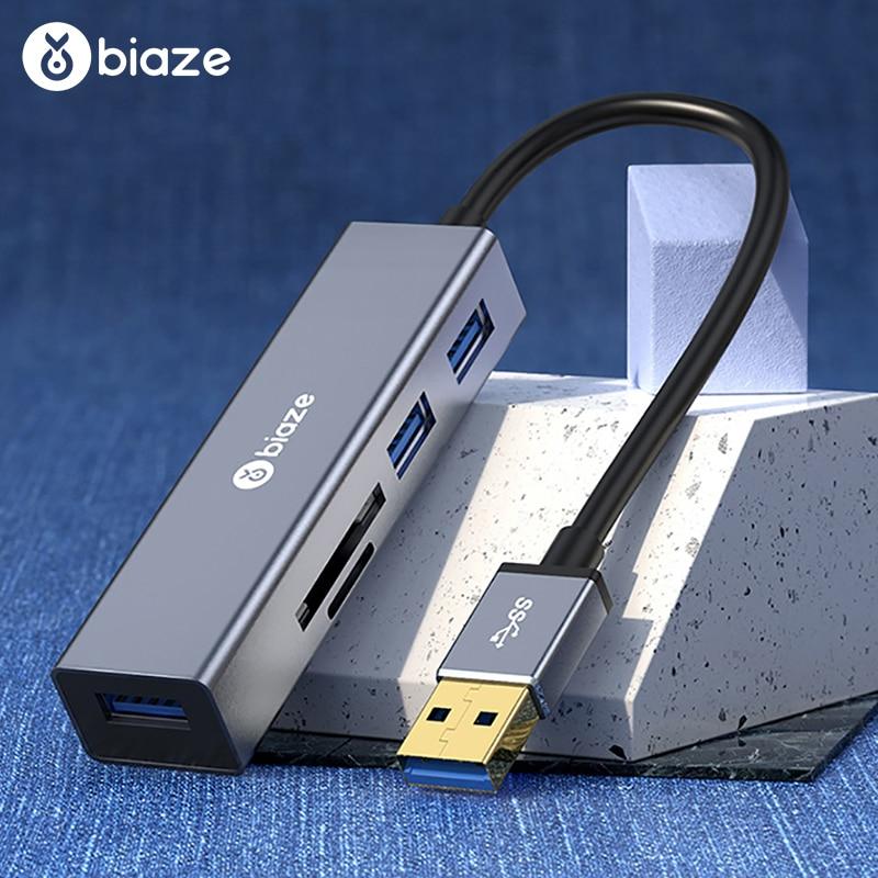 Biaze USB Hub 3.0 High Speed 3 Ports Splitter Usb Hub Adapter SD Card TF Card Reader For PC Laptop Computer Notebook USB 3.0 Hub