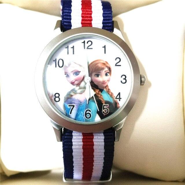 3843c232247 Crianças dos desenhos animados Relógios Mulheres Se Vestem Relógio Elsa  Menina Menino Relógio de Pulso de
