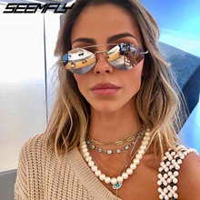 Seemfly New Fashion Square Sunglasses Women 2019 Brand Trendy Alloy Double Beam Shades Goggle Female Sun Glasses UV400 Gafas 1PC