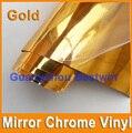 Free shipping 1.52m*30m high quality car sticker vinyl  car wraps gold Mirror Chrome vinyl with air bubble free BW-0021