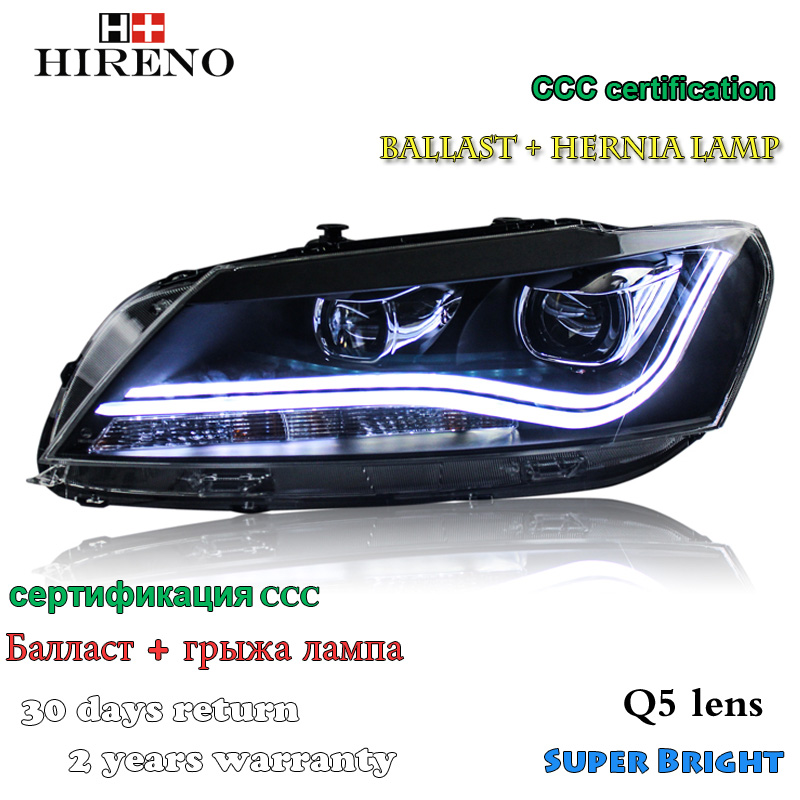 Hireno Car styling Headlamp for 2011-2015 Volkswagen Passat B7 Headlight Assembly LED DRL Angel Lens Double Beam HID Xenon 2pcs hireno car styling headlamp for 2003 2007 honda accord headlight assembly led drl angel lens double beam hid xenon 2pcs