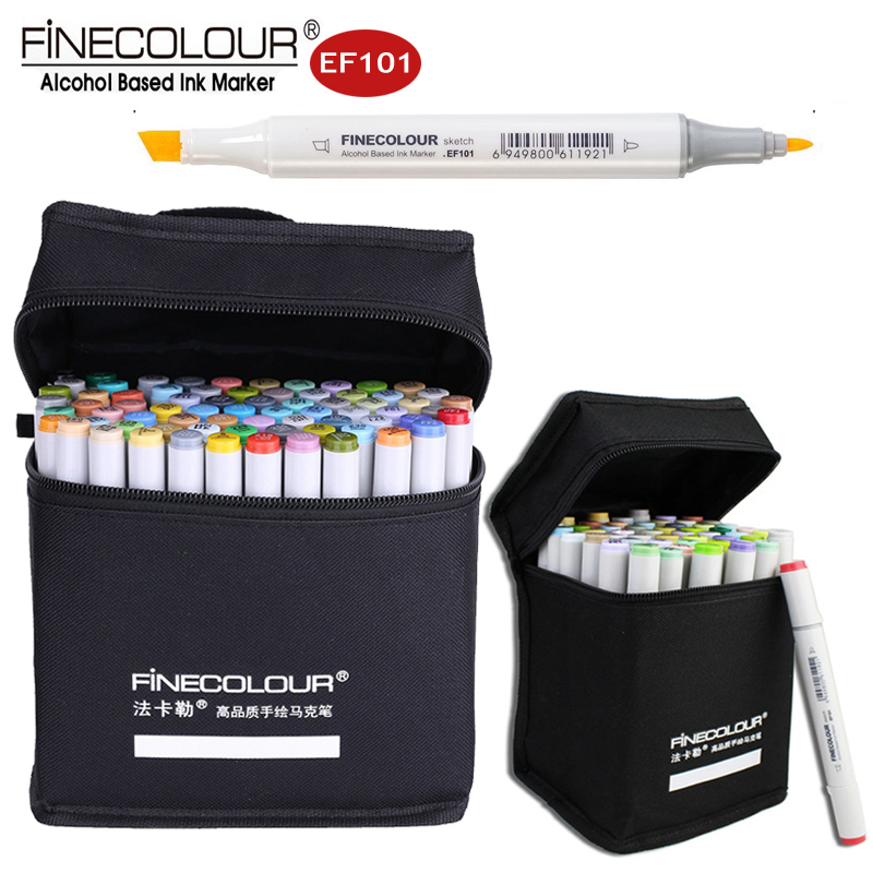 Finecolour EF101 Dual Sketch Marker 36/48/60/72 Fine Color Art Line Pens Interior/Product/Animation/Clothes Drawing Markers Set promotion touchfive 80 color art marker set fatty alcoholic dual headed artist sketch markers pen student standard
