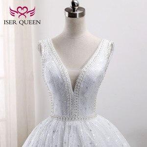 Image 4 - פניני חרוזים רקמה לבן כלה שמלת ערבית שמלות 2020 חדש ללא שרוולים די תחרה נסיכת חתונה שמלת WX0005