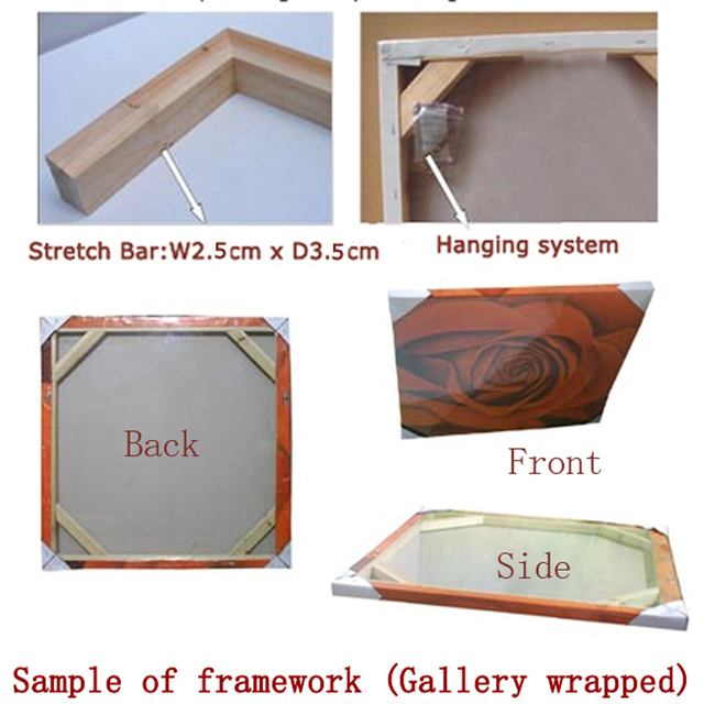 Gallery wrapped Stretcher bar Framework for oil painting and canvas prints decoration