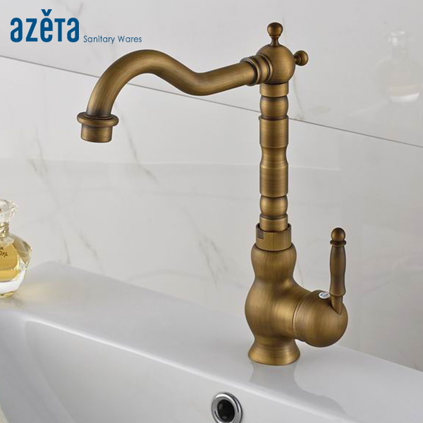 Azeta Classic Antique Brass Bathroom Single Handle Basin Faucet Cold and Hot Water Washbasin Tap AT9906AAzeta Classic Antique Brass Bathroom Single Handle Basin Faucet Cold and Hot Water Washbasin Tap AT9906A
