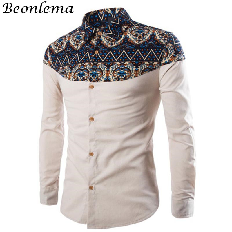 Beonlema Men Formal Shirts In African Print Style Stand Collar Button Shirts Navy Long Sleeve Cotton Homme Clothes Tops M-3XL