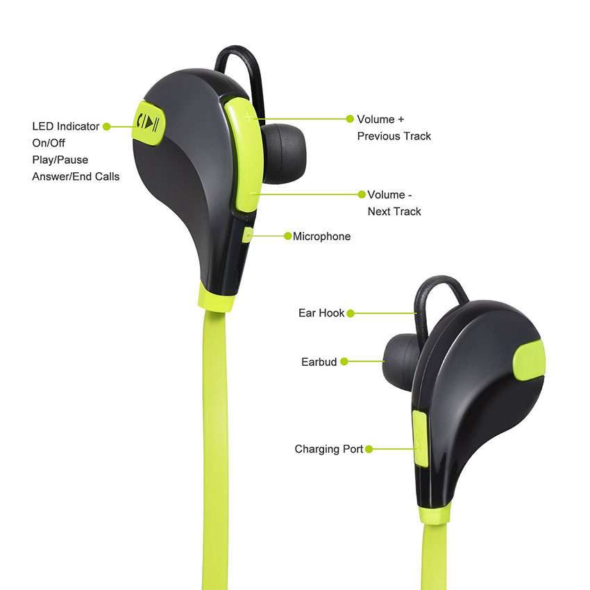 Aimitek Bluetooth Earbuds Sports Headsets CSR Wireless Headphones Stereo Handsfree Earphones with MIC for iPhone Smartphones 2