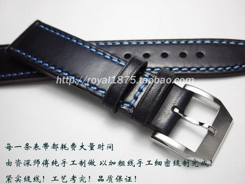 2020 Men's Girls Genuine Leather Watchbands 20 21 22 mm Dark blue VINTAGE Wrist Watch Band Strap Belt Steel for Omega Seiko iwc