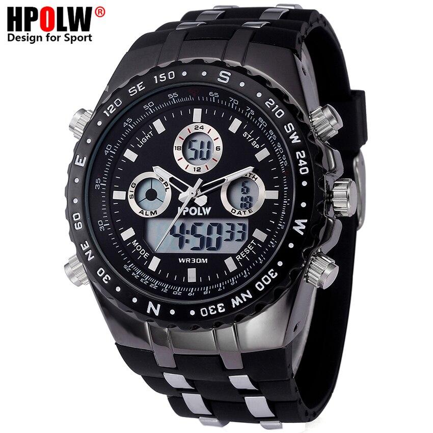 4d193d95df4 Homens de Luxo Relógio de Quartzo Analógico Digital Nova Marca HPOLW Relógio  Estilo Militar À Prova D  Água Esportes Dos Homens G Choque Relógios Casuais