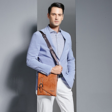VICUNA POLO Unique Buckle Design Irregular Cover Open Mens Messenger Bag
