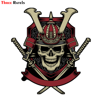 Three Ratels LCS495# 13x14.1cm samurai warrior skull with crossed katana swords vector funny car stickers styling removable deca image