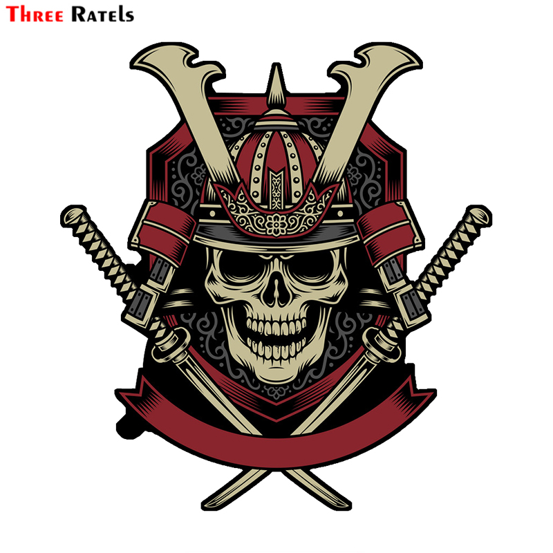 Three Ratels LCS495# 13x14.1cm Samurai Warrior Skull With Crossed Katana Swords Vector Funny Car Stickers Styling Removable Deca