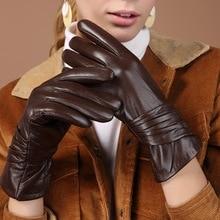 Luvas de couro genuíno feminino pele carneiro preto cinco dedo luvas inverno grosso quente moda mittens novo bw015