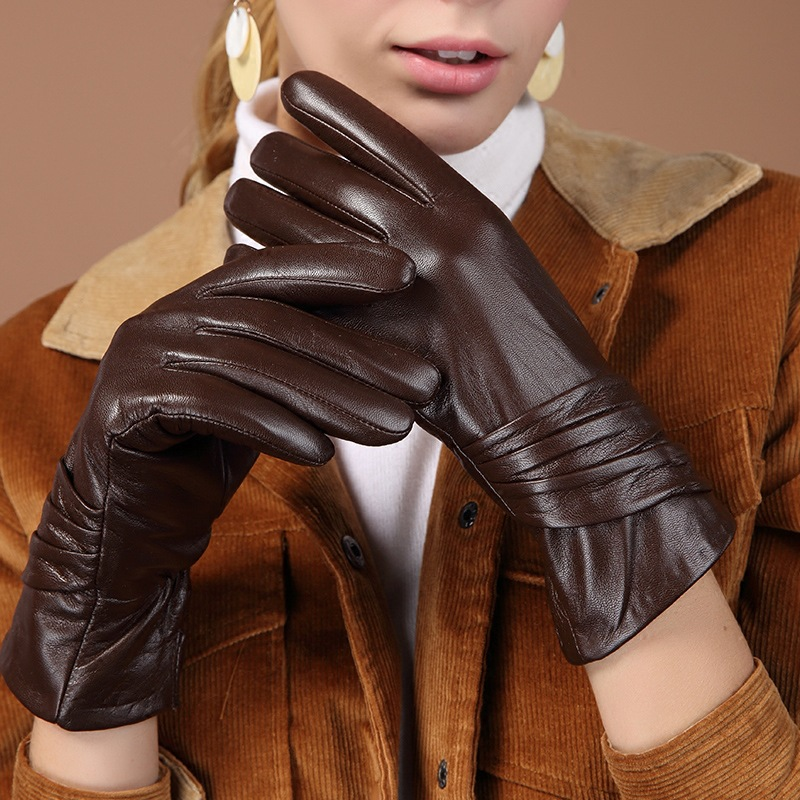 Women's Genuine Leather Gloves Black Sheepskin Five Finger Gloves Winter Thick Warm Fashion Mittens New BW015