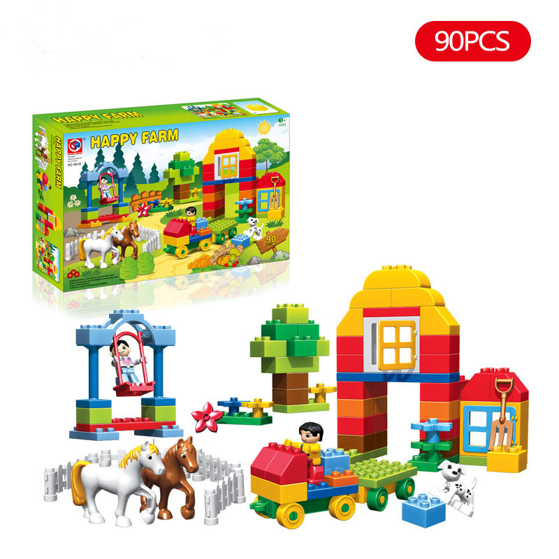 90pcs Happy Farm Animals Building Blocks Sets Large particles Animal Model Bricks Compatible with legoeINGly Duplo Baseplate kid s home toys large particles happy farm animals paradise model building blocks large size diy brick toy compatible with duplo