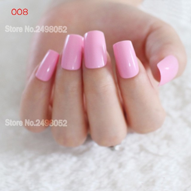 24pcs Light Pink Flat Top Fake Nails Art Tips Artificial Designed Candy Acrylic Long