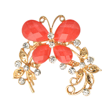 2018 New Fashion brooch clear Crystal Rhinestone Nice Plated Pins butterfly Brooches Pin Jewelry Women Brooches wholesale