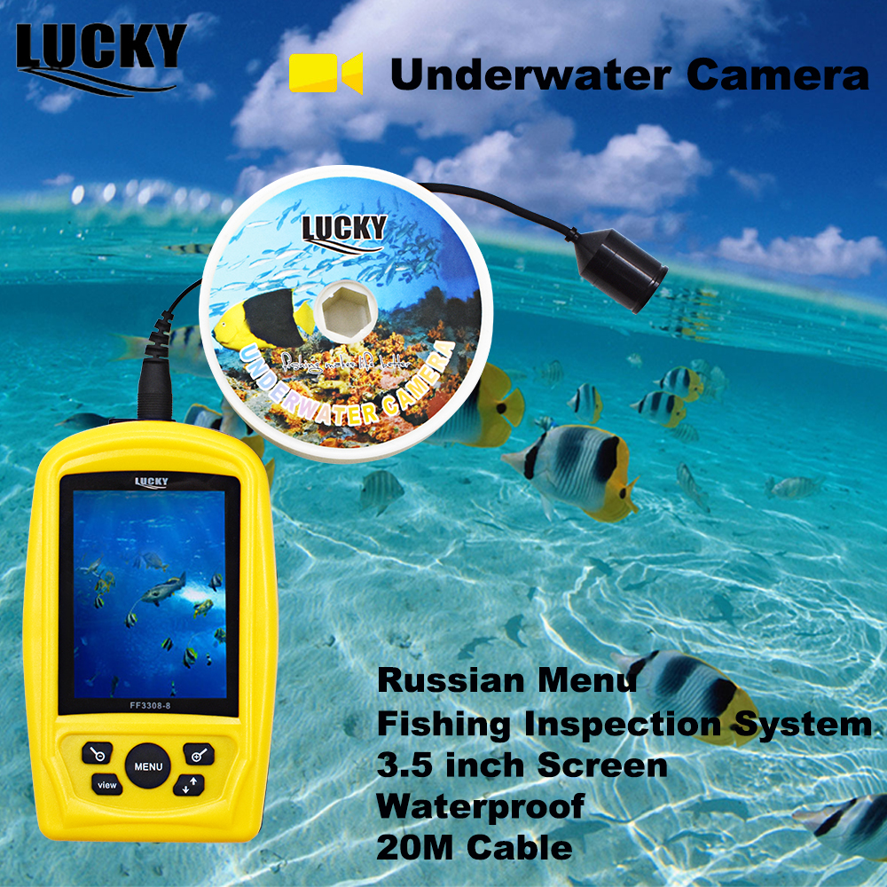 CHANCEUX FF3308-8 Caméra Sous-Marine De Pêche Système D'inspection Étanche Moniteur 20 m Câble Fish Finder Hiver Glace Russe Menu # C7