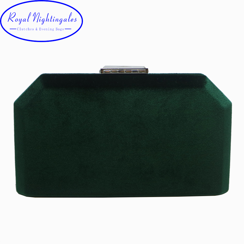 Dark Green Velvet Hard Case Box Clutch Evening Bags and Clutch Purses Handbags with Shoulder Chain for Ball Party Prom dark green velvet twistlock closure quilted chain bag