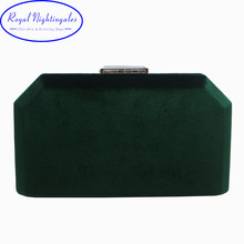 Dark Green Velvet Hard Case Box Clutch Evening Bags and Clutch Purses Handbags with Shoulder Chain for Ball Party Prom(Hong Kong,China)