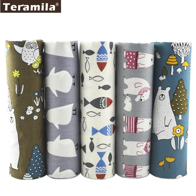 Teramila Cotton Fabric 5 Designs Animals Patchwork Fat Quarter Bundle Meter Quilting Bedding Home Textile Tissue