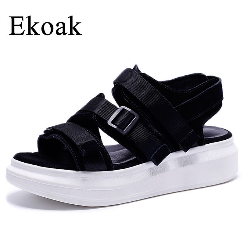 Ekoak New 2018 Fashion Women Gladiator Sandals Summer Shoes Woman Cow Leather Women Sandals Casual Beach Platform Shoes rhinestone silver women sandals low heel summer shoes casual platform shiny gladiator sandal fashion casual sapato femimino hot