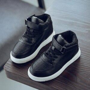 Image 3 - 2019 crianças casuais sapatos menina tênis de couro alta ajuda à prova dwaterproof água preto vermelho crianças botas meninas sapatos