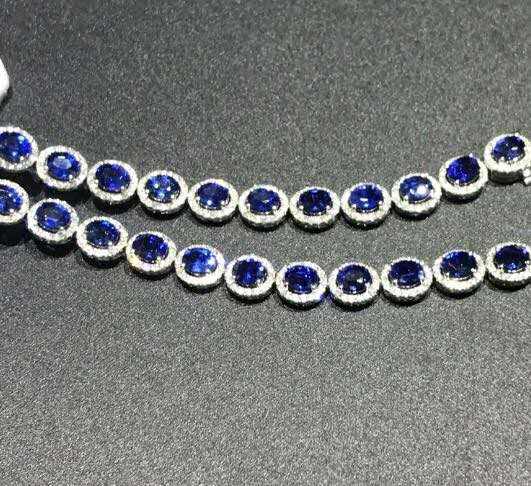 The luxurious Sapphire Bracelet symbolizes loyalty, perseverance, love and honesty. The main gemstone is 5A sapphire. Jewel size loyalty