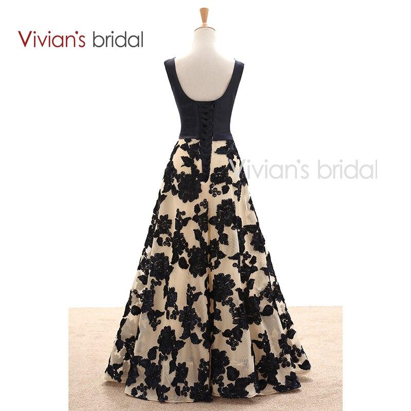 Pengantin Vivian Elegant A Line Petang Satin Satin Floral Cetak Lace - Gaun acara khas - Foto 3