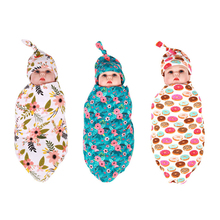 Nyfödd Swaddle Sack Cocoon Sömn Säck Swaddle Säck Beanie Set Nyfödd Hat Ta Home Outfit Photo Props Baby Shower Gift