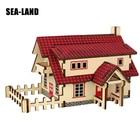 House Model 3D Wooden Puzzles 20 Pcs Wood Montessori Toys Children Iq Puzzle Educational Toys DIY 3D Wooden Puzzles Decoration