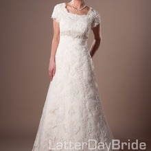 cecelle Long Modest Wedding Dresses With Short Sleeves